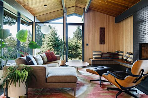 portland home interiors stylish mid century house with warm colored wood decor