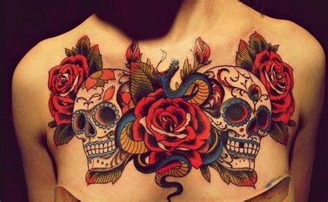 female chest piece tattoo designs just my opinion to much for a chest but