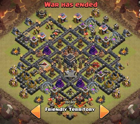 layout coc base war th9 top 5 th 9 war base designs coc 4 mortars