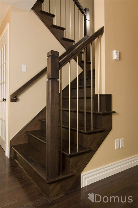 steel banister modern staircase with zen posts and stainless steel