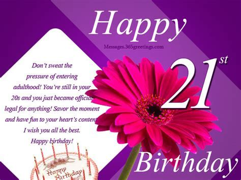 21st Birthday Wishes, Messages and Greetings