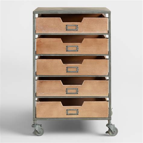 Rolling Cart Drawers wood and metal 5 drawer frederick rolling cart world market