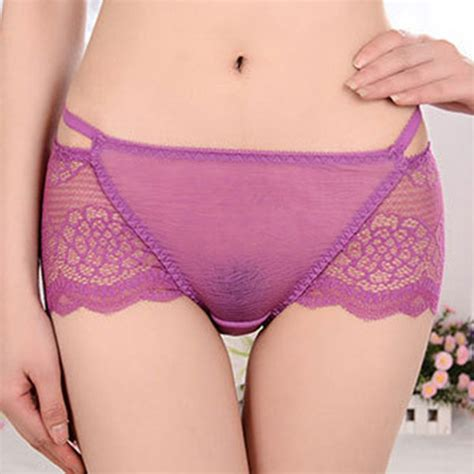Hot Sexy Lace See Through Low Rise Breathable Panties For