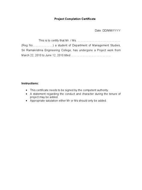 Certificate Letter For Project Project Completion Certificate Format
