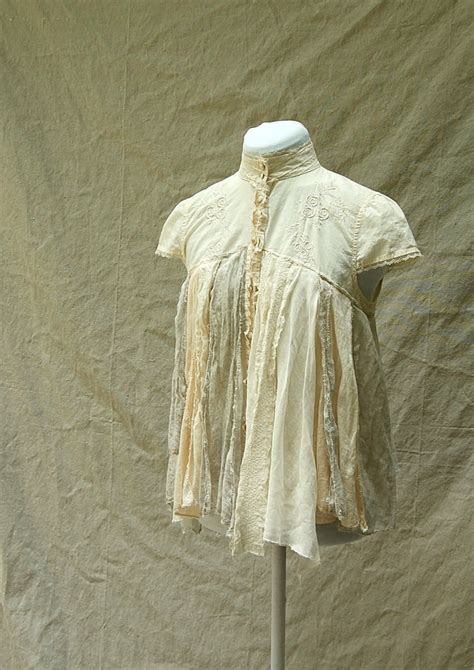 shabby chic tattered fairy woodland boho blouse upcycled