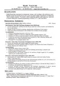 Researcher Resume Exles by Technical Research Resume Exle