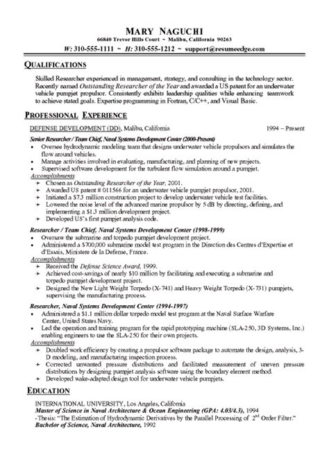 Resume Sles For Research Technical Research Resume Exle