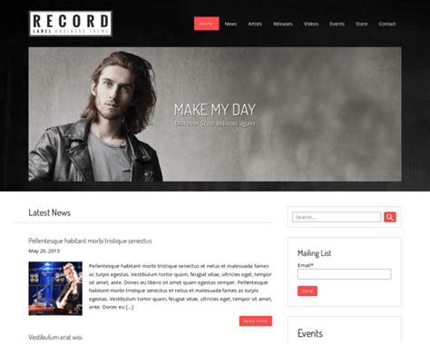 record label website template free record label theme theme for label owners