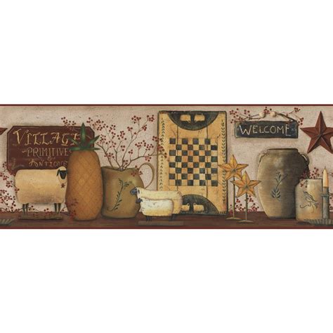 country kitchen wallpaper border primitive vintage and burgundy primitive antique wallpaper border cb5509bdb