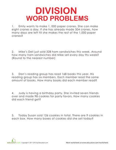 Free Printable Worksheets On Division Word Problems | 4th grade division word problems education com
