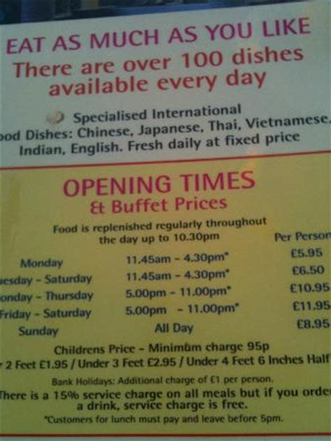 Menu Picture Of Buffet City Exeter Tripadvisor City Buffet Prices