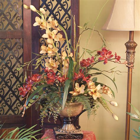 home decor floral soft yellow red cymbidium silk orchids floral arrangment