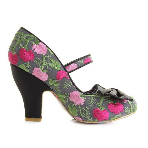 womens irregular choice fancy this black floral high heel
