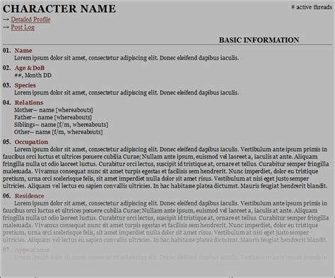 rp bio template free character sheet templates forum