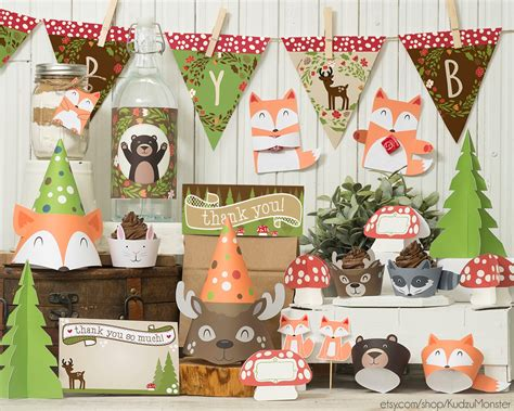 woodland animal baby shower centerpieces w wall decal