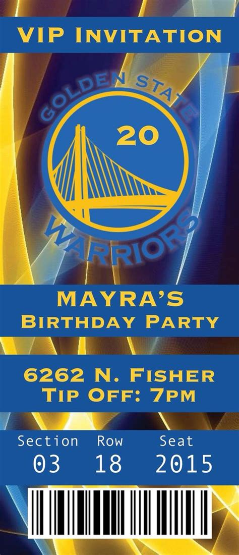 Golden State Warriors Birthday Invitation Ticket Birthday Stuff Ideas Pinterest Birthdays Nba Ticket Template