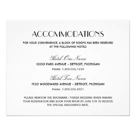 accommodation card template wedding accommodation card deco style future