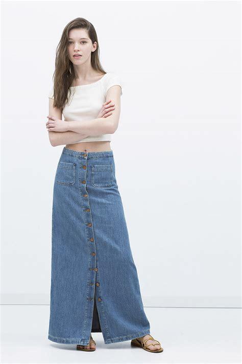 6037 Maxi Denim faldas largas lisas y estadas en zara colecci 243 n