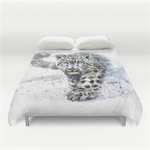 leopard duvet covers snow leopard duvet cover by kostart society6