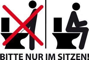 wie sitzt auf einem bidet aufkleber bitte nur im sitzen pinkeln toilette wc