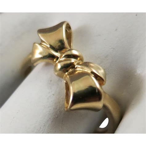 Sweety Comfort Gold L 4 vintage sweet sixteen bow ribbon 14k yellow gold ring size