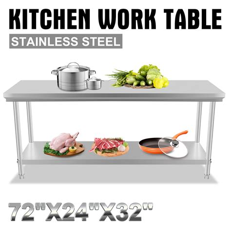 1829mm x 610mm commercial stainless steel kitchen work