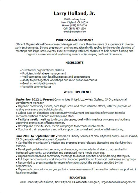 Organizational Development Officer Sle Resume by 1 Organizational Development Resume Templates Try Them Now Myperfectresume
