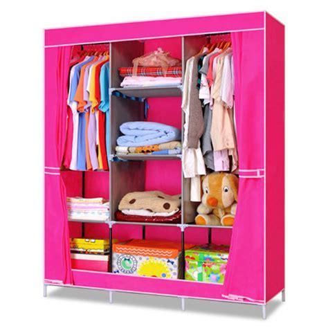 Cloth Rack Organizer Clothes Storage Lemari Portable Lipat Biru portable wardrobe closet with shelves roselawnlutheran
