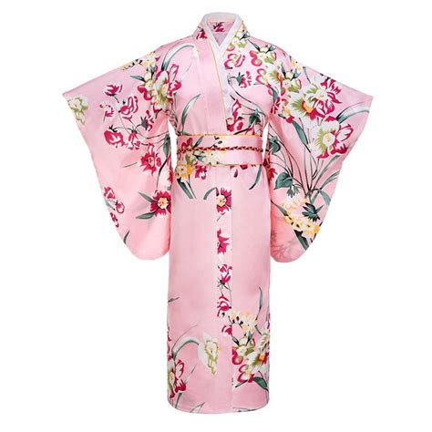 Dress Obi 2in1 Flower pink japanese fashion tradition yukata silk rayon kimono with obi flower vintage