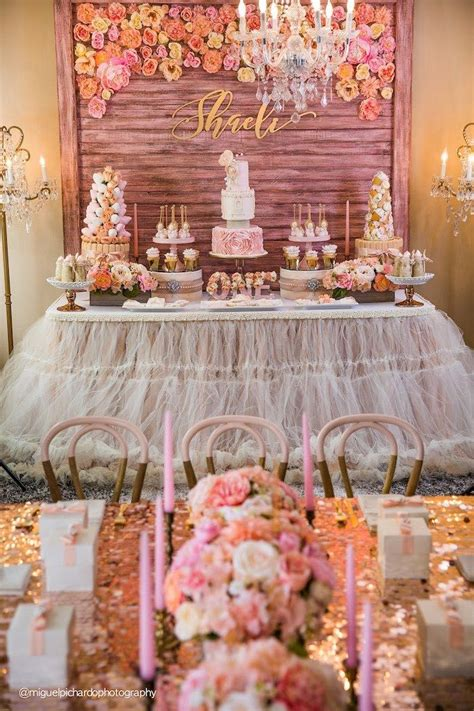 party setup dessert table   pink gold st