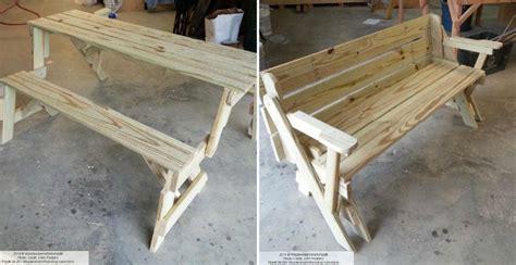 folding bench  picnic table combo diy