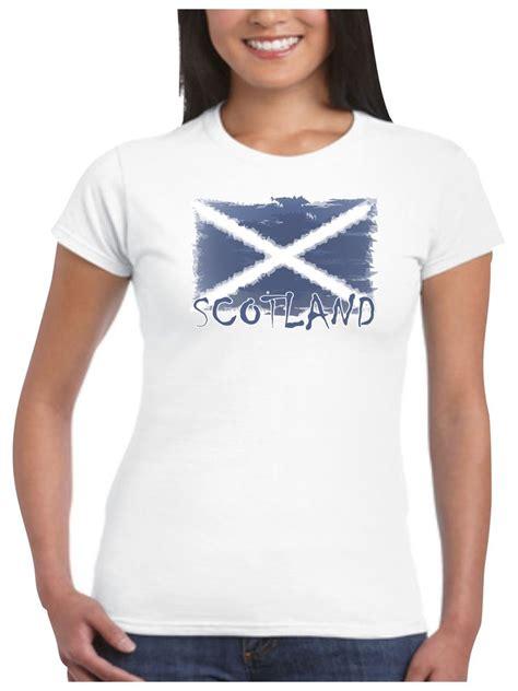 scotland t shirt ladies shabby scottish flag for football rugby st andrews day ebay