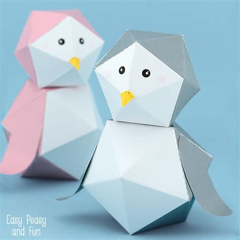 How To Make Cool Paper Toys - 3d penguin paper free printable easy peasy and