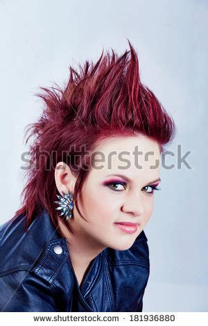 redhead women with spiked mohawk spiked hair stock photos images pictures shutterstock