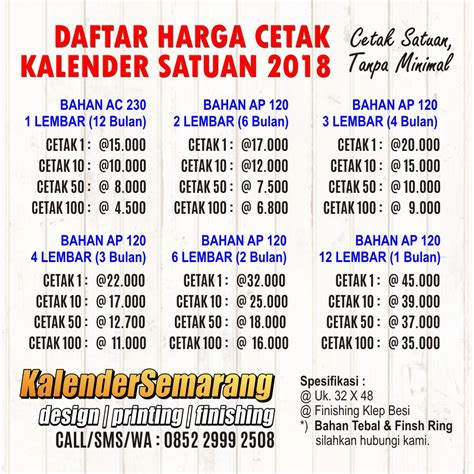 Cetak Kalender Meja 2017 Satuan 0852 2999 2508 daftar harga kalender 2018 cetak satuan
