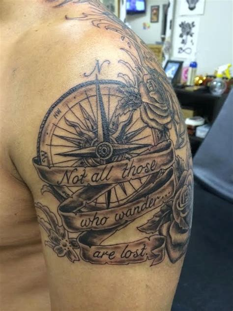 compass tattoo not all who wander are lost not all those who wander are lost compass tattoo on man
