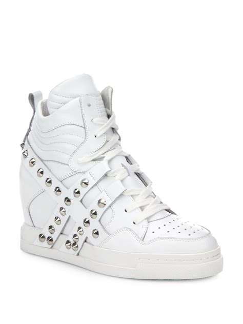 stud wedge sneakers ash cl studded leather wedge sneakers in white lyst