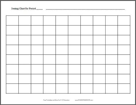 10x8 horizontal classroom seating chart template free