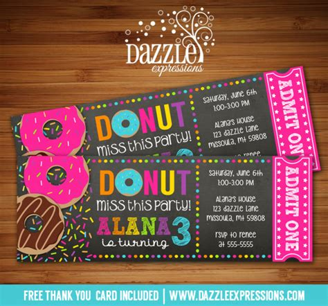 free thank you card templates donut printable donut chalkboard ticket birthday invitation
