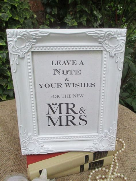 Wedding Wish Tree Sign Mr & Mrs Bow Tie & Pearls Vintage Frame