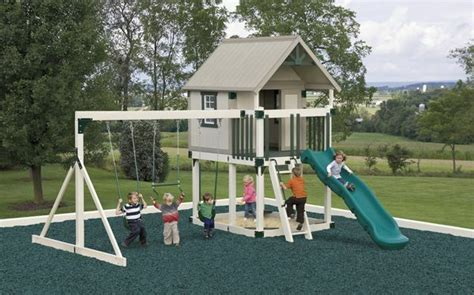 Amish Swing Sets by Amish Pa Handmade Wooden Vinyl Pvc Swingset