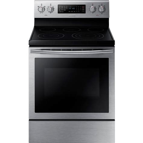 samsung electric range samsung 30 in 5 9 cu ft electric range with self cleaning convection oven in stainless steel