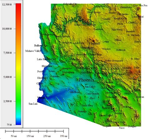 arizona elevation map what cities in arizona has the coolest summers tucson