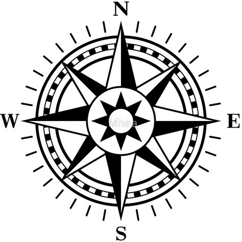"""""""Compass rose, black and white"""" Stickers by Mhea   Redbubble"""