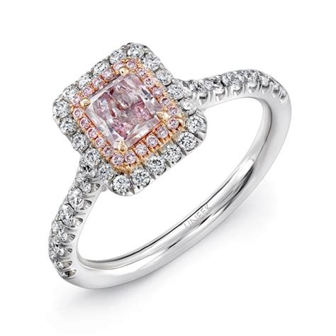 uneek radiant cut pink halo engagement ring 18k