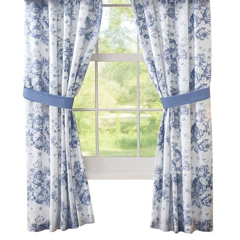 blue and white patterned curtains julianne blue and white floral drapes by collections etc