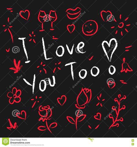 imagenes de i love you too ich liebe dich auch hand gezeichnete vektorillustration