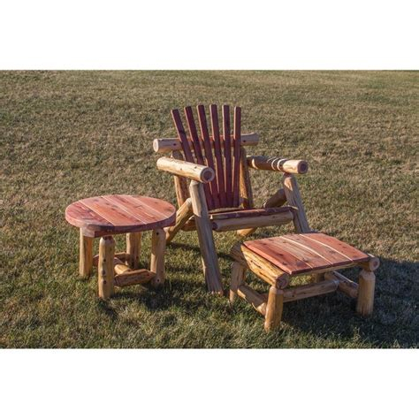 outdoor log adirondack chairs cedar log outdoor adirondack chair sset