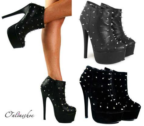 womens black spike stud high heel stiletto platform ankle