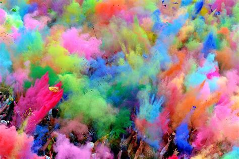 colorful atmosphere in holi festival with different